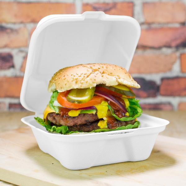 "Quality 6"" biodegradable disposable sugarcane bagasse burger food box for sale"