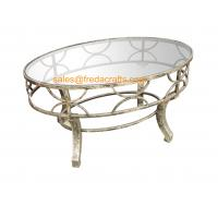 Top Quality  Metal Decorative Framed Coffee Table With Tempered Glass Top Silver Finish Table Manufactures