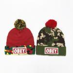 Polyester Cotton Jacquard Embroider Fashion Cheap Pom Pom Winter Knitting Hats