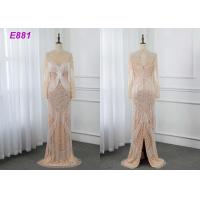 China Heavy beading evening dress tassels long sleeves sheath formal party dress on sale