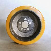 China Polyurethane Pallet Truck Steer Wheels Replacement Yellow Color Steel Core on sale