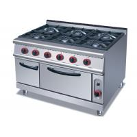 Commercial Cooking Lines , Free Standing 4 / 6 Burners Gas Range With Oven Manufactures