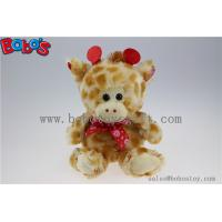 Wholesale Price Plush Giraffe Cuddly Stuffed Toy with Lips Ribbon Manufactures