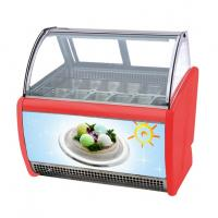 Low Noise 10 Pans Gelato Ice Cream Display Fridge With Stainless Steel Material Manufactures