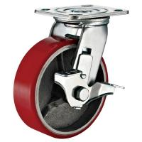 Lockable Industrial Trolley PU Caster Wheel With Plate Fitting 4 Inches Manufactures