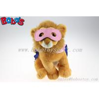 Plush Lion Toys Custom Stuffed Lion With 2 Color Eye patch and Printing Logo Cloak Manufactures