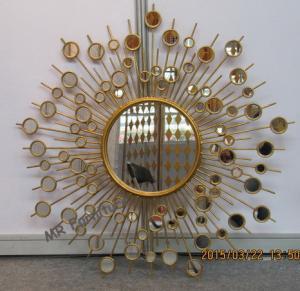 Cheap Round Metal Mirror Wall Decor Sunburst Style 37 Inch Diameter Metal Wire Frame for sale