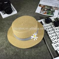 Cheap Best Beauty Flat Top Ladies Sun Protection Summer Straw Hats 56-58cm With Flower Ribbon Manufactures