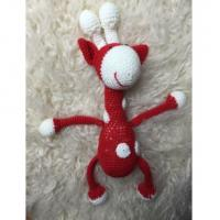 Knitted Red Giraffe Handmade Soft Toy for newborn photography Manufactures