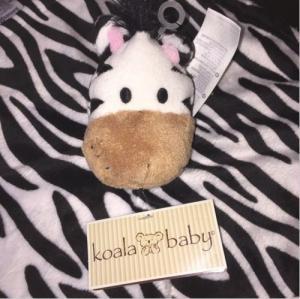 NWT Koala Baby Zebra Security Blanket Black White Pink Backing Lovie Babies R Us Manufactures