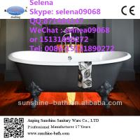 China Dual freestanding Cast Iron Tub,67 inch dual clawfoot cast iron bath tubs on sale