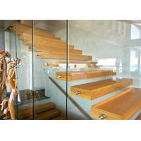 Prima Prefabricated Open Tread Stairs With Glass , Unique Floating Appearance Manufactures