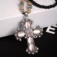 Factory jewelry Direct Sale  popular new black bead opal cross necklace with long chain Manufactures