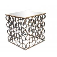 Squre end table with small iron circle decorations for Dinning room metal framed gold finish Manufactures
