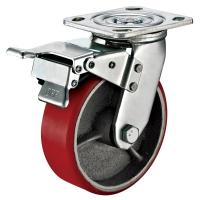 Small Red Caster Wheels / Heavy Duty Locking Swivel Casters With Plate Fitting Manufactures