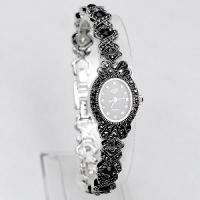 China High Quality Antique Black Titanium Silver with Crystal Rhinestone Women Girls'Lady Alloy Quartz Ad on sale