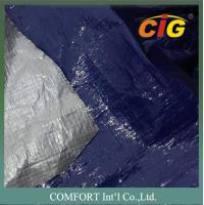 Plastic waterproof tarpaulin 150G/M2 2M Wide 100% PE Material Blue / Silver Color Manufactures