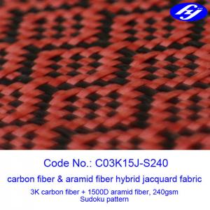 High Tensile Red Carbon Fiber Kevlar Fabric With Jacquard Sudoku Pattern Manufactures