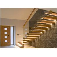 Glass Balustrade Floating Steps Staircase For Residential With Invisible Stringer Manufactures