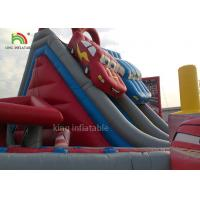 Red Car Cartoon Inflatable Dry Slide Double Lanes For Boys / Kids Outdoor Playground Manufactures