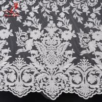 China 2019 Wholesale 131CM White Color Cloth French Embroidered  Bridal Lace Fabric on sale