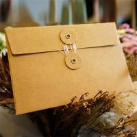 Postcard Storage Packaging Kraft Paper Envelope With Button / String Closure Manufactures