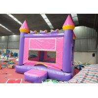 China Pink Blue Banner Adult Size Bounce House 0.55mm PVC Tarpaulin Materials on sale
