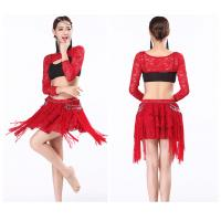 Indian bollywood Sexy belly dance practice wear clothing lace top and skirt