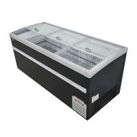220V 15L Island Display Freezer With Curved Top Sliding Glass Manufactures