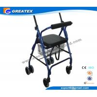 Aluminum 4 Wheel rolling walker with seat and Brakes for patient Rehabilitation Manufactures
