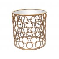 Metal frame round iron end table with iron circle decoration in gold Manufactures