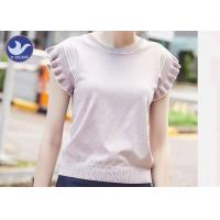 Sweet Ruffle Drop Short Sleeves Womens Knit Pullover Sweater Stripes Summer Manufactures