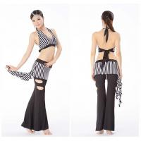 Zebra Line Print Belly Dance Practice Costumes Top And Pants For Girls Manufactures