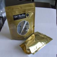 Coffe / Tea Moistureproof Stand Up Pouch Bag Plastic Golden Oval Window Manufactures