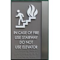 Brushed Aluminum ADA Elevator Signs Clear Grade II Braille For Emergency Stop Manufactures