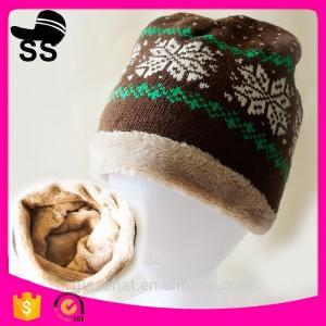 2017 Custom Wholesale 20*28cm 77g 100% Acrylic Jacquard Snowflower with tassel  Winter Inner Fleece Knitting Beanie Hats Manufactures