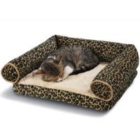 Buy cheap Leopard Print Memory Foam Bolster Dog Bed Suede Fabric Cover Non - Slip Bottom from wholesalers