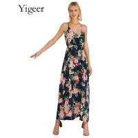 China Sleeveless Floral Printed V-neck Long Maxi Dress on sale