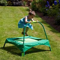 Safe small green trampoline for kids Garden outdoor playing , 89x89 cms Base area Manufactures