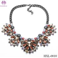 Fashion flowers lady bright beads diamond necklace exaggerated flower necklace Manufactures