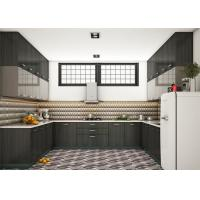 PRIMA Customized MDF Kitchen Cabinets Modern Style With Quartz Stone Countertop Manufactures