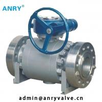 China Three - Piece Worm Gear Ball Valve Bolted Cover A105+ENP Ball   Class 150~1500 on sale