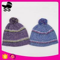 20*24+5cm 100%Acrylic 80g Yiwu Winter Stock Low Price Striped Headwear Ladies Girls Caps Winter Knitting Hats Manufactures