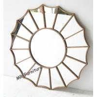 Cheap Gold Metal And Mirror Wall Decor , Gold Metal Frame Abstract Mirror Wall Art for sale