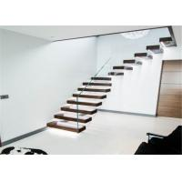 CE Certificated Floating Wood Stairs , Open Tread Oak Staircase No Smell Manufactures