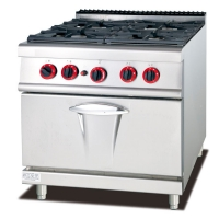 4 Four Gas Burner Restaurant Kitchen Equipment With Gas Oven Manufactures