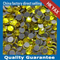 lead free hot fix beads citrine color Manufactures