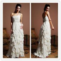 China Elegant floucing skirt chiffon wedding dress gown on sale
