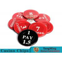 Red / Black  Anti - Fade Casino Game Accessories 40 Mm Plastic Insurance Code Set Manufactures