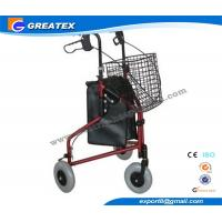 Three Wheel Folding Rollator Walker Aids With Cable Brakes And Food Tray Manufactures